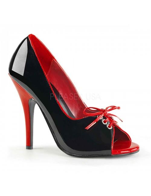 Escarpins open toes Talon Hauts Noirs et rouges Pleaser
