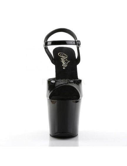 Sandales Plateformes Revolver Noir Vernis Pleaser
