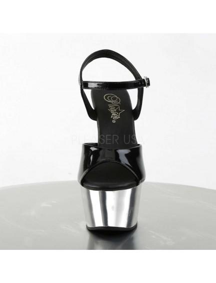 Sandales Plateformes Chromé Noir Vernis Aspire Pleaser