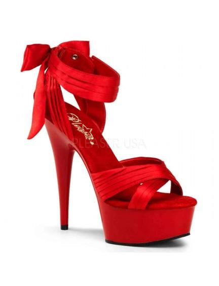 Sandales Plateformes Noeud Chic Rouge Pleaser