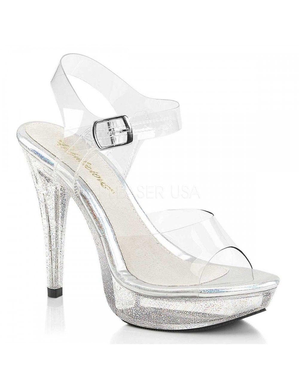 Sandales Transparente Pailleté Haut Talon PLEASER