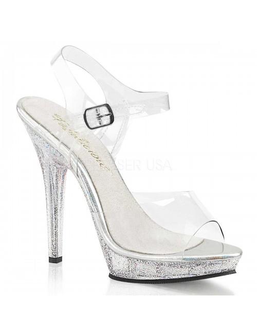 Sandales Plateforme Transparente Semelle Brillante Pleaser
