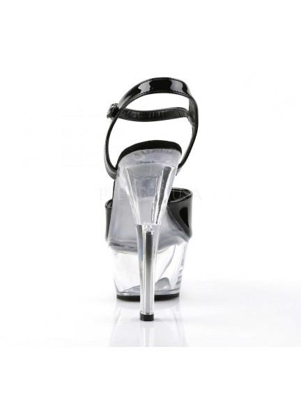 Sandales Plateformes Transparente Pole Dance Noir Vernis Kiss PLEASER