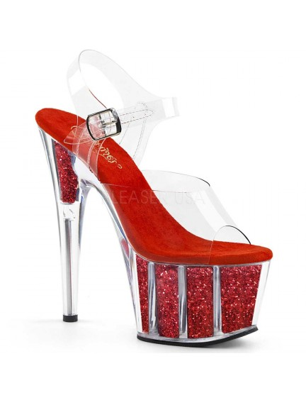 Sandales Plateforme Pailleté Rouge Sexy Pleaser