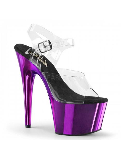 Sandales Plateforme Transparent et Violet Adore Pleaser