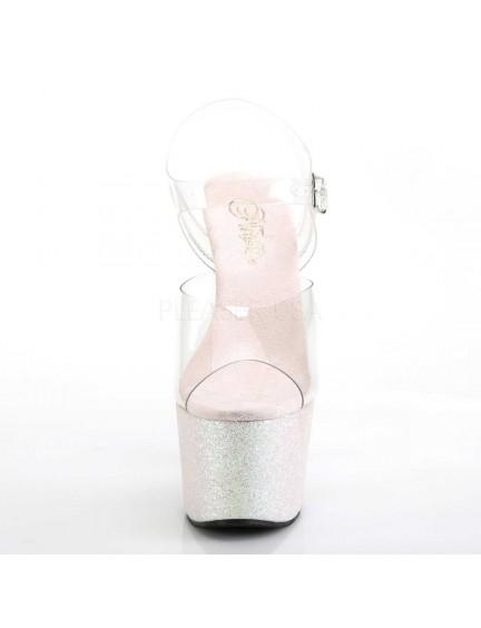 Sandales Plateforme Mini Paillettes Opale Sexy Pleaser