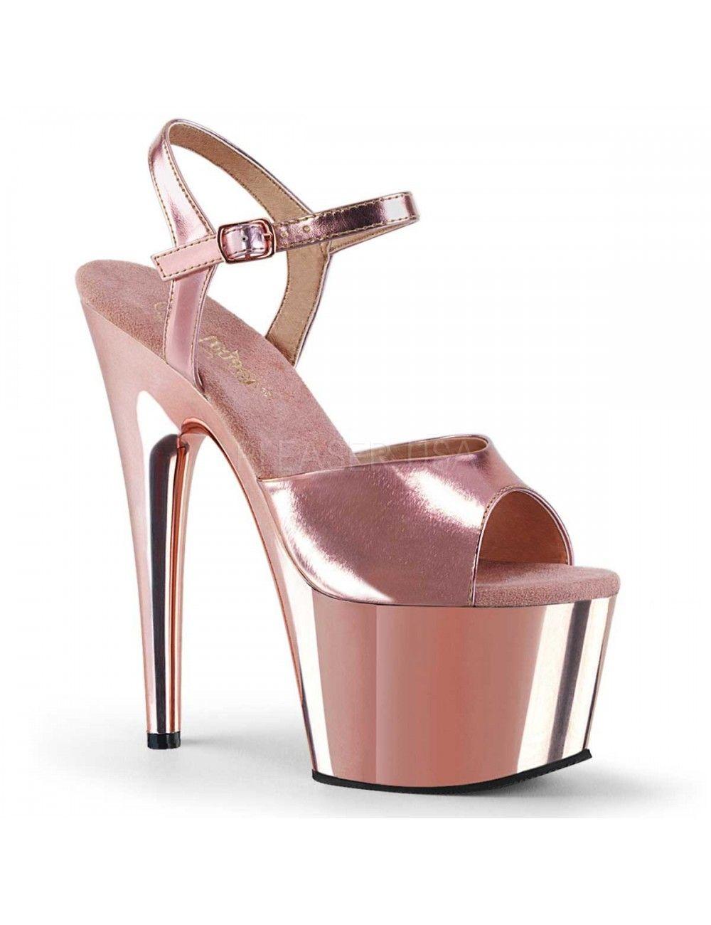 Sandales Talons Vertigineux Rose Métallique PLEASER