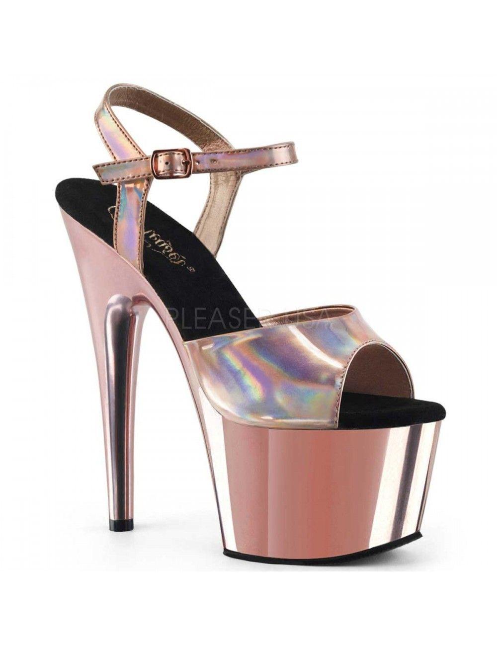 Sandales Talons Vertigineux Rose Or Hologramme PLEASER