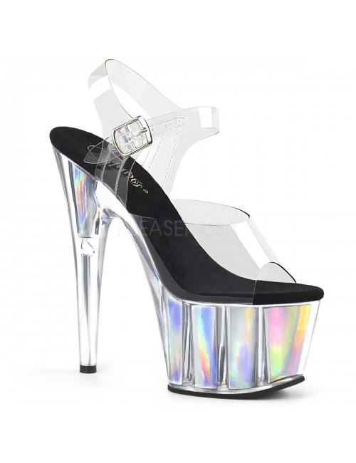 Sandales Plateforme Hologramme Argent Sexy Pleaser