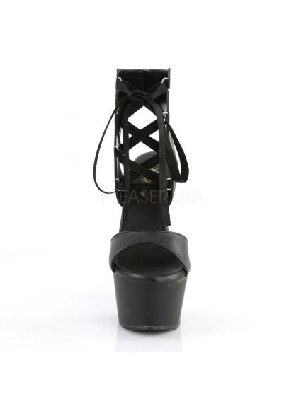 Sandales Plateformes à Lacets Noir Mat Pleaser