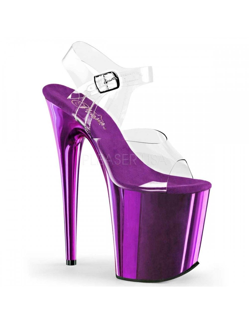Sandales Plateforme Très haut Talon Violet Chromé Pleaser
