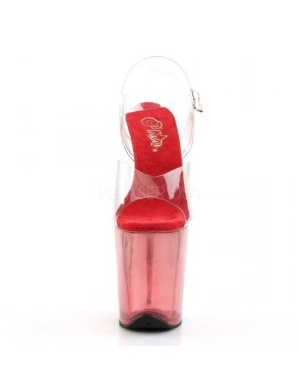 Sandales Plateforme Transparente Rouge Très haut Talon Pleaser