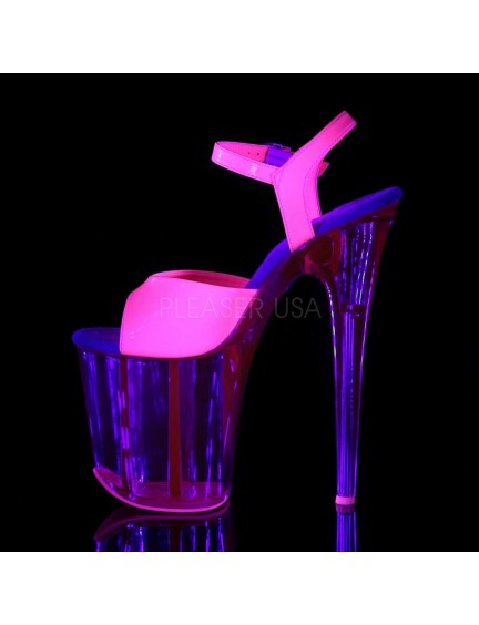 Sandales Plateformes Transparentes Flamingo Rose UV Pleaser