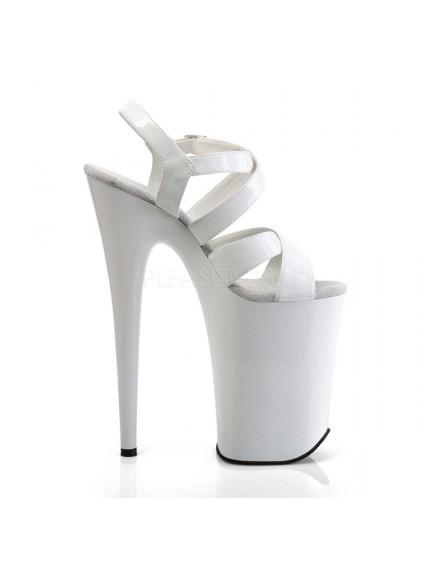 Sandales Plateformes Brides Blanc Vernis Infinity PLEASER