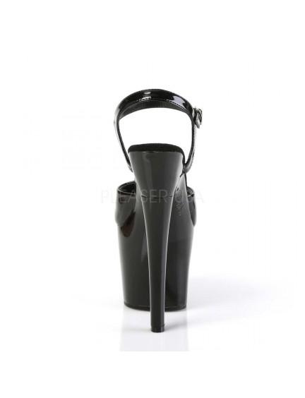 Sandales Plateformes Haut Talon Noir Vernis Radiant Pleaser