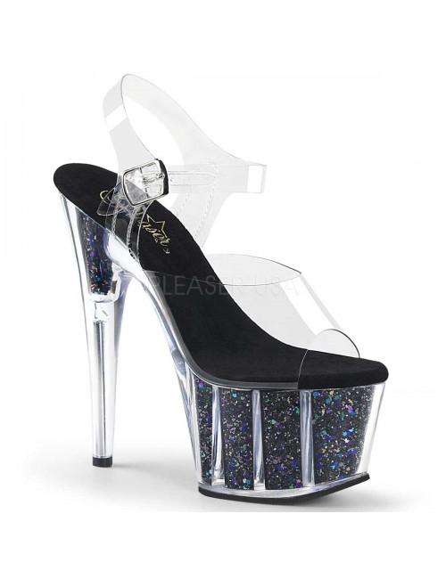 Sandales Plateforme Pailleté Noir Confetti Sexy Pleaser