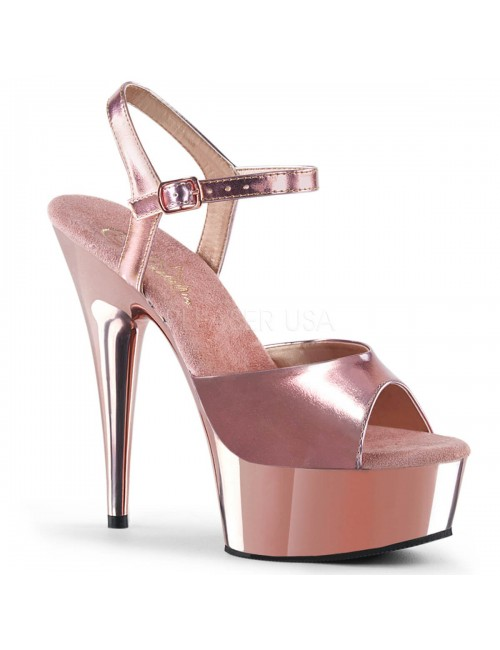 Sandales charme talon haut Or Rose PLEASER