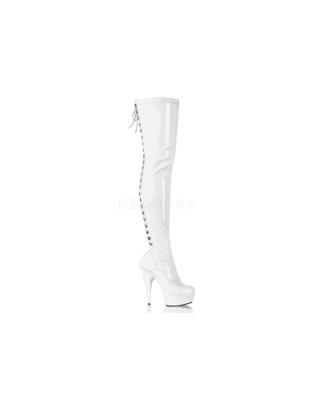 Cuissardes plateforme sexy laçage Blanc Vernis PLEASER