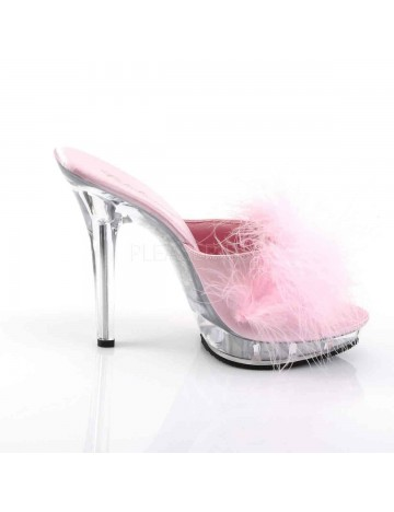 Mules Talons Hauts Duvets Sexy Rose PLEASER