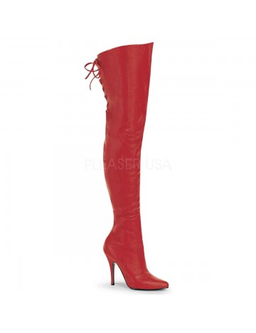 Cuissarde Talons Hauts Cuir Rouge Legend Pleaser