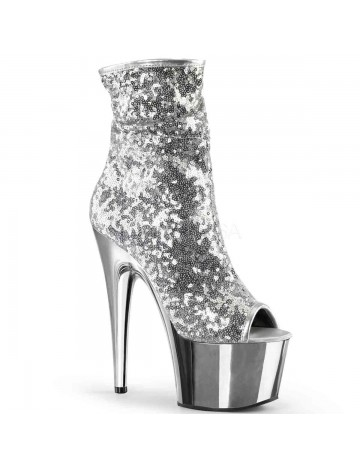 Bottine Plateforme Pole Dance Sequin Argent Pleaser