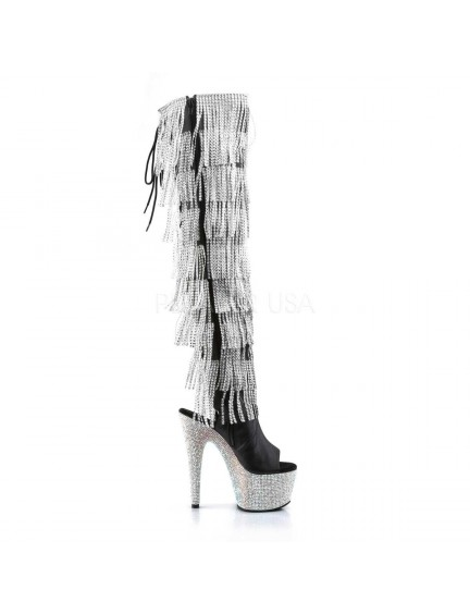 Cuissardes Noirs Franges Strass Luxe Bejeweled Pleaser