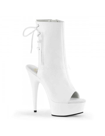 Bottines Plateforme Ouverte Blanc PLEASER