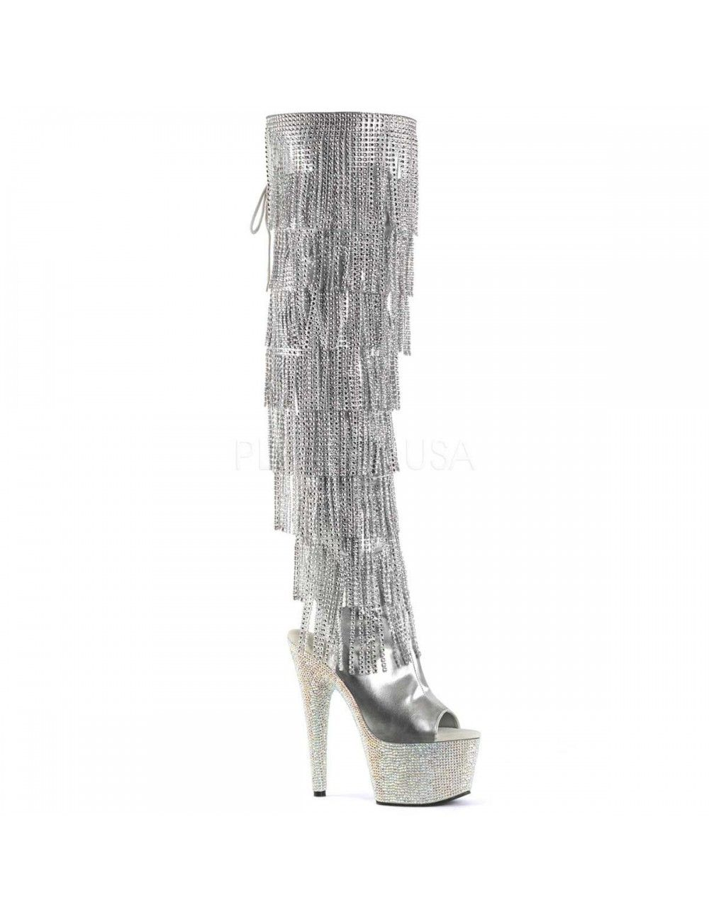 Cuissardes Argent Franges Strass Luxe Bejeweled Pleaser