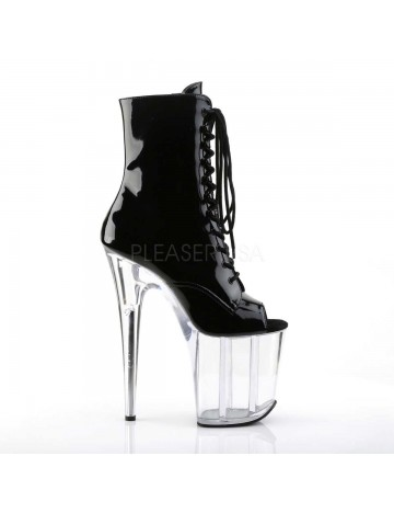 Bottines Plateformes Transparente et Noir Vernis Flamingo Vertigineuse Pleaser
