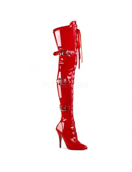 Cuissardes boucles et lacet sexy Rouge Vernis PLEASER