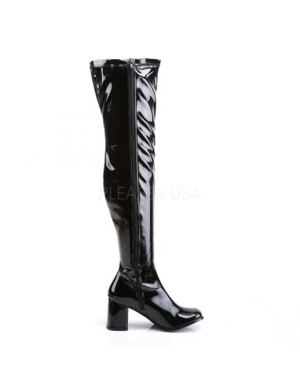 Cuissardes Mode Noir Vernis Talon Large PLEASER