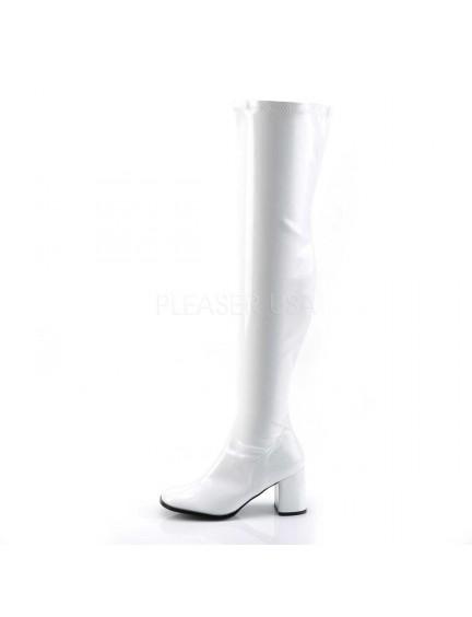 Cuissardes Mode Blanc Vernis Talon Large PLEASER