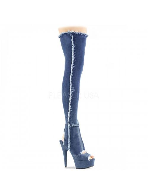 Cuissardes Plateforme Jeans Denim Ouverte PLEASER