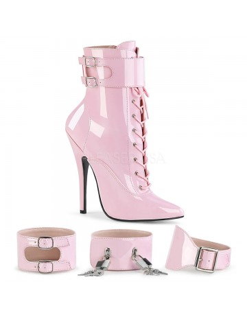Bottines Talon aiguille Domina Vernie Rose Pleaser
