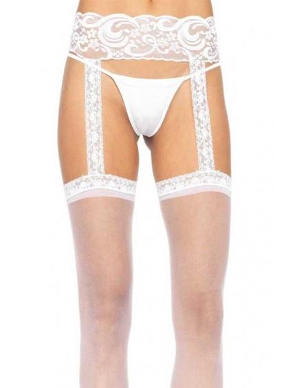 Collant Sexy Blanc Effet Jarretelles LEG AVENUE