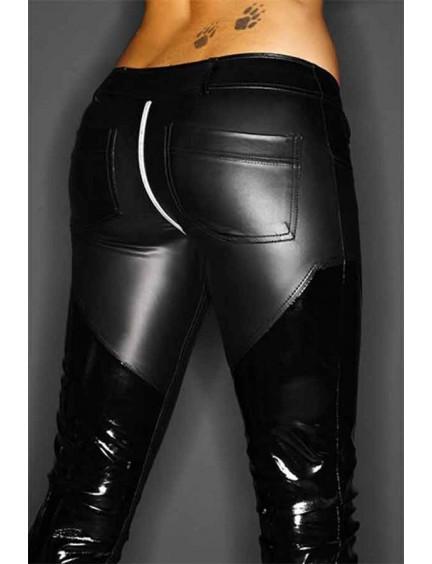 Pantalon Slinky Vinyle Noir Handmade