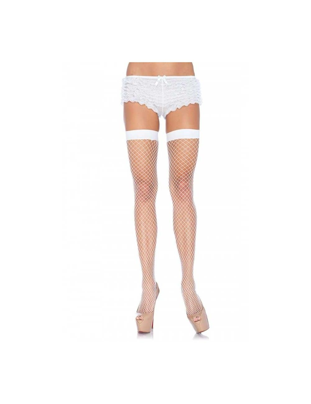 Bas résille blanc & nylon LEG AVENUE