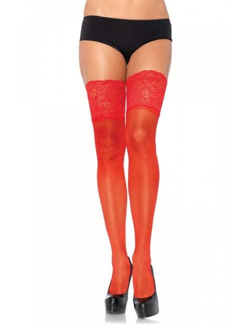 Bas autofixants rouge larges jarretières LEG AVENUE