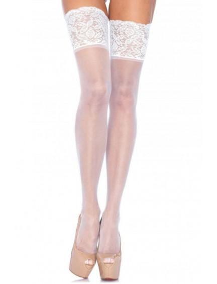 Bas autofixants blanc larges jarretières LEG AVENUE