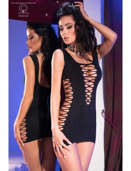 Robe Noir Résille Erotique Chilirose