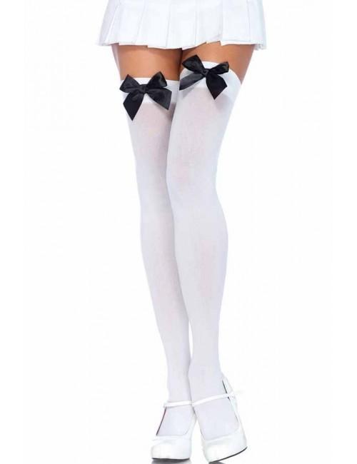 Bas opaques nylon blanc et noeud noir LEG AVENUE