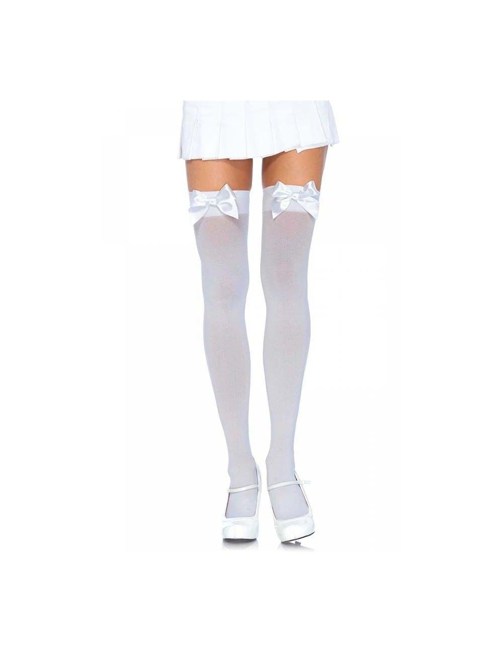 Bas opaques nylon blanc et noeud blanc LEG AVENUE
