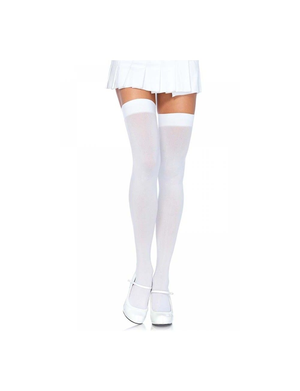 Bas opaques blanc en nylon Leg Avenue
