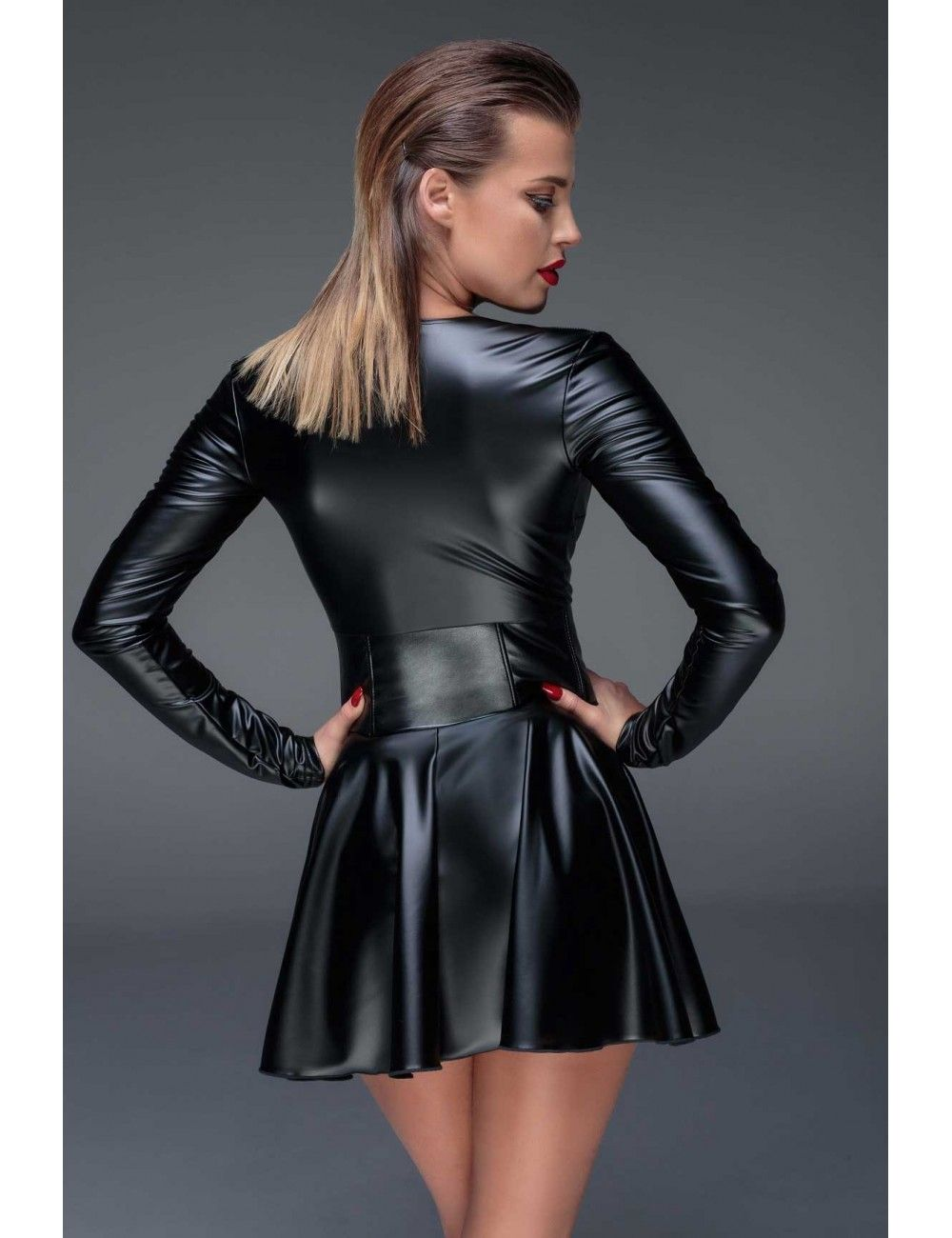 Robe Noir Manche Longue Look Corset Handmade | Tenue libertine