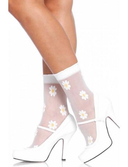 Soquettes blanches et fleurs LEG AVENUE