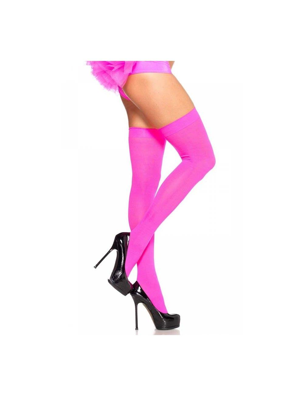 Bas opaques néon rose en nylon Leg Avenue