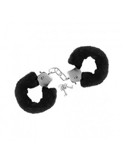 Menottes fourrure noires avec sécurité Sweet Caress