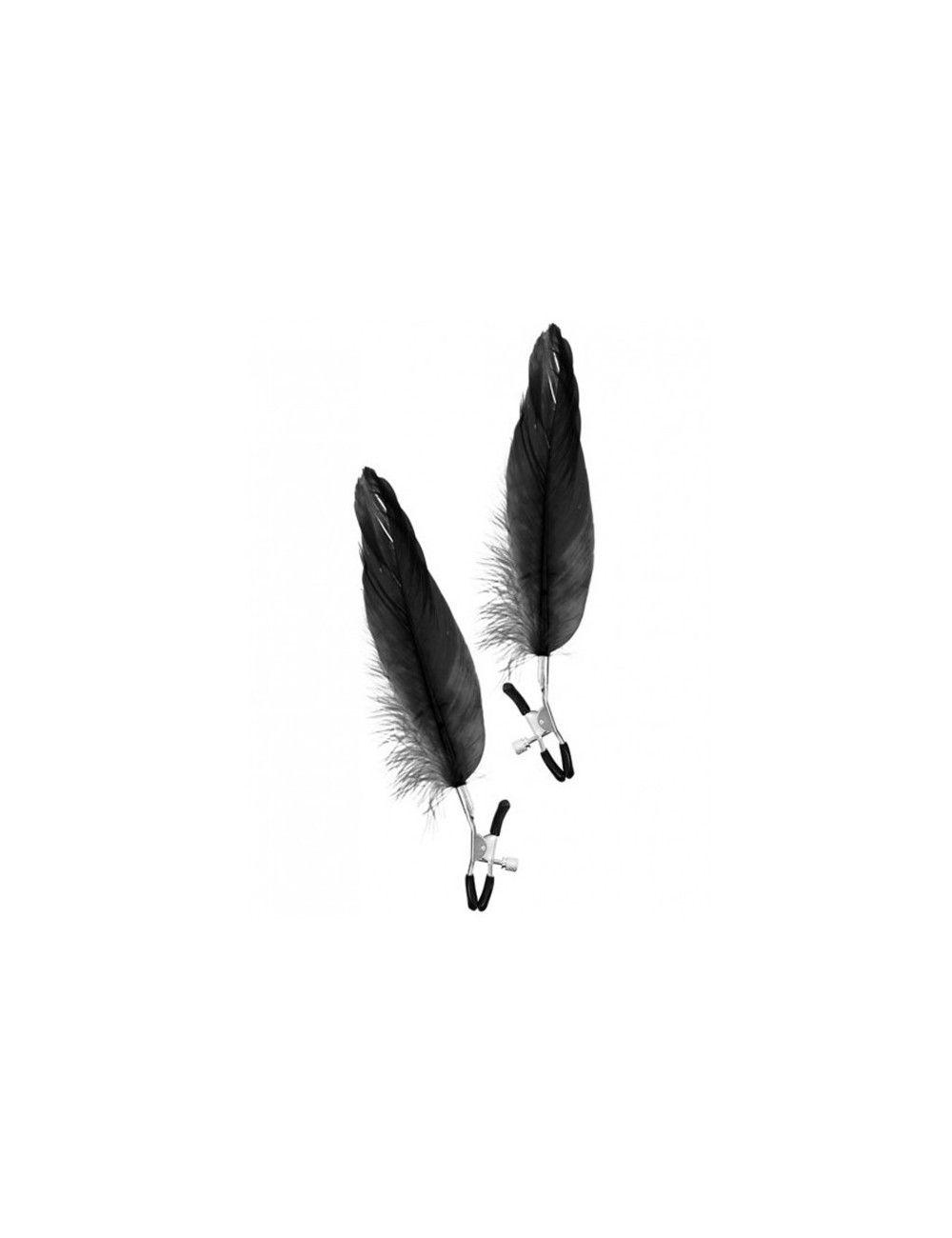 Pinces à seins réglables et plume noire SWEET CARESS
