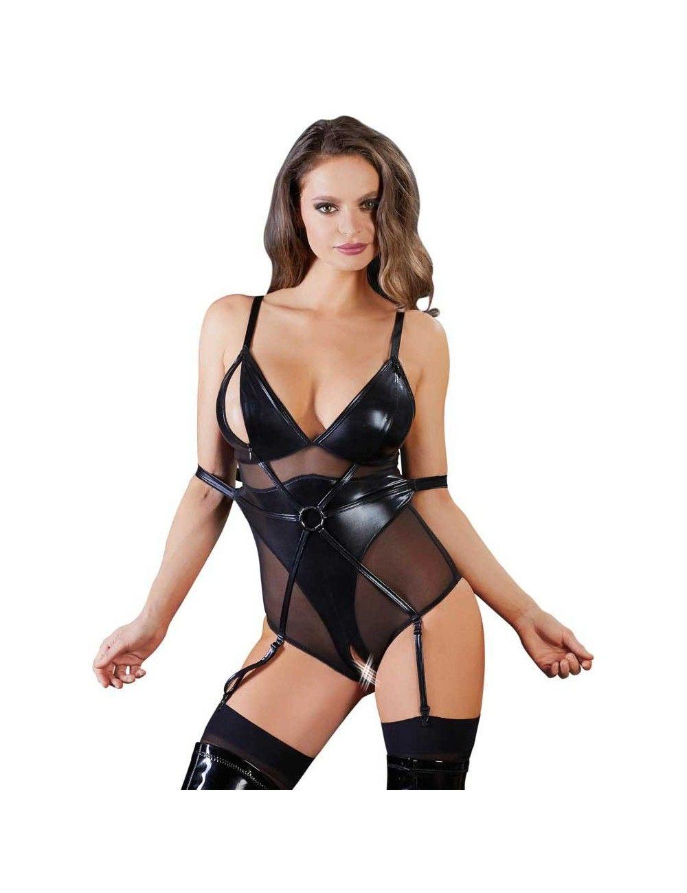 Body Bondage Ouvert Noir Vinyle Cottelli Collection