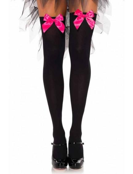 Bas opaques noir et noeud rose néon LEG AVENUE